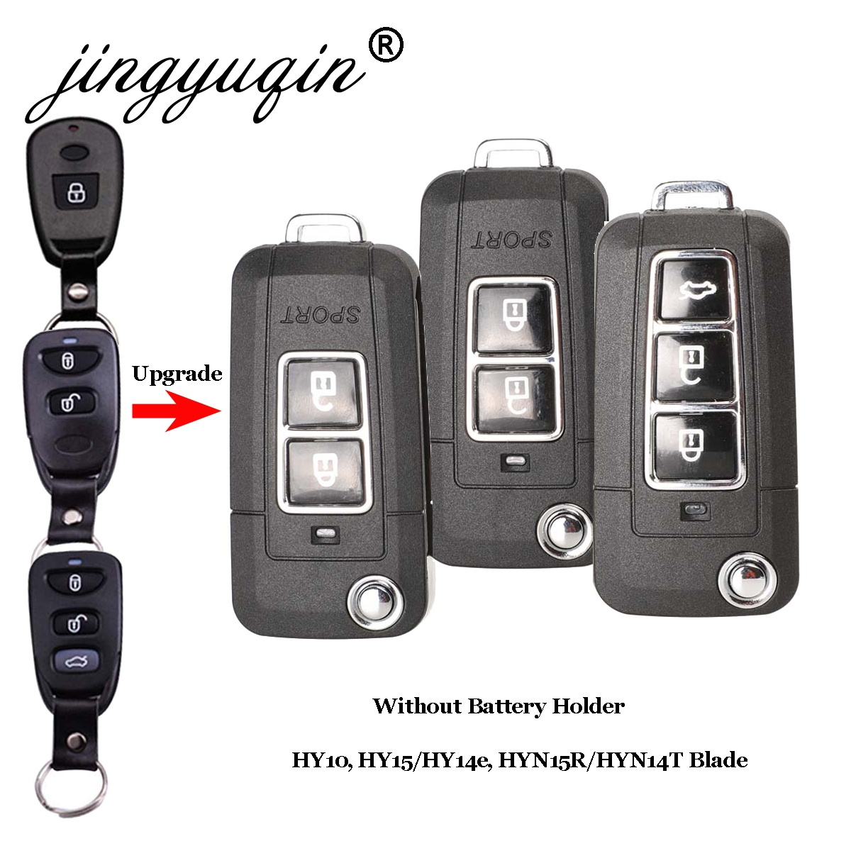Remote Key Shell FOB Case for For Hyundai Tucson Santa Fe 2+1 3 Buttons Panic