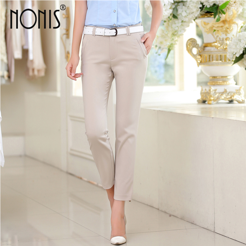 Nonis New 2018 Summer Mid waist Ankle Length Casual   pants   XS-3XL Five color Female Work wear OL Pocket Elastic trousers   capris