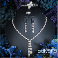 HADIYANA Exclusive Cubic Zirconia 4pcs Turkish Jewelry Set Vners 2018 Shining Copper Tassel Dubai Jewelry Sets For Ladies CN088