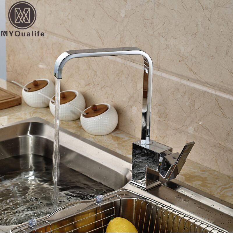 Chrome Brass 360 Swivel Kitchen Faucet Mixer Tap Single Handle Hot and Cold One Hole Bathroom