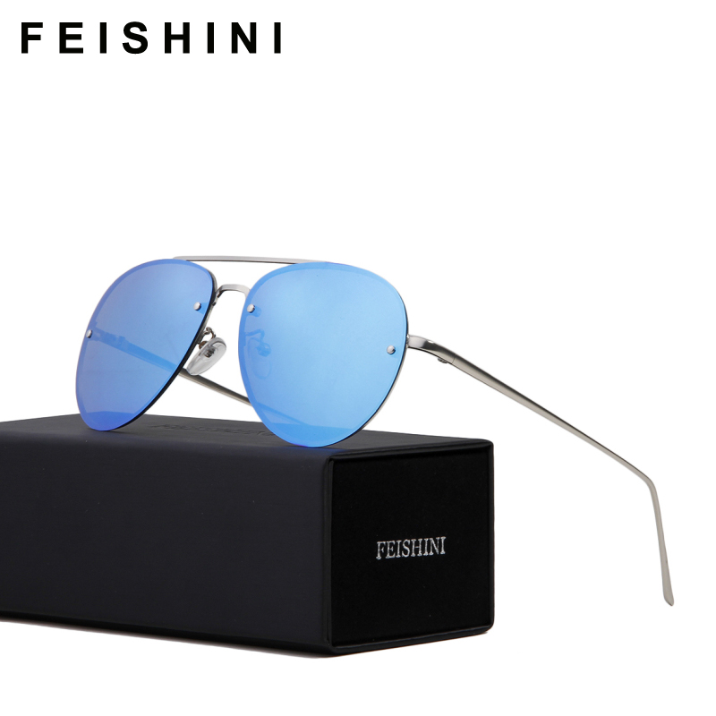 FEISHINI 22G Super Light Celebrity Metal Rimless Aviation Sunglasses Polarized Unisex Pink Fashion Driving Men Glasses Woman