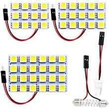 12 15 24 SMD 5050 светодиодный автоматический панельный светильник для чтения, купольная лампа для салона автомобиля, карта с T10 W5W C5W C10W, 2 адаптера