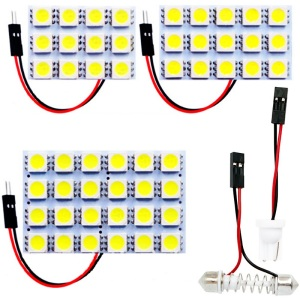 12 15 24 SMD 5050 LED Auto Panel Light Reading Dome Bulb Car Interior Roof Map Lamp With T10 W5W C5W C10W Festoon 2 Adapter Base