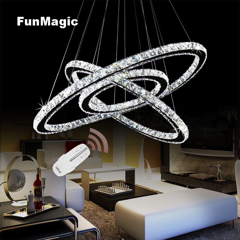 Stainless Steel Crystal Diamond Led Pendant Light 3 Rings