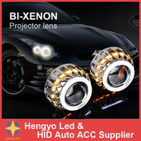 F2 Dual Color CCFL Angel Eyes Projector HID Bi Xenon Projector Lens Auto HID Conversion Kit For Headlights 2.8 inch