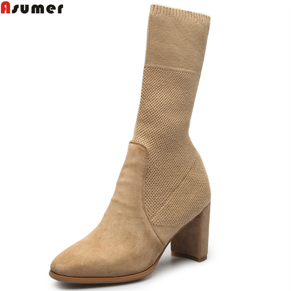 ASUMER fashion new arrive women boots square toe slip on kid suede ladies boots black apricot sexy leather mid calf boots new arrival superstar genuine leather chelsea boots women round toe solid thick heel runway model nude zipper mid calf boots l63