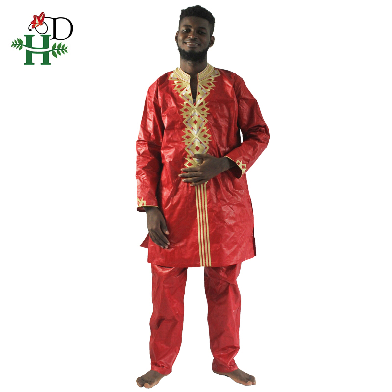 H&D African men's clothing 2019 fashion new african man suits outwear african bazin riche embroidery men shirt with trouser
