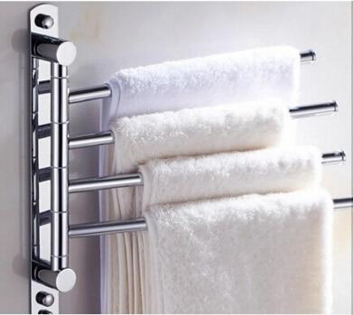 2016 New and brief 4 Swivel Towel Bars Copper Wall Mounted Bathroom Towel Rail Rack Bathroom Towel Holder Towel Hanger