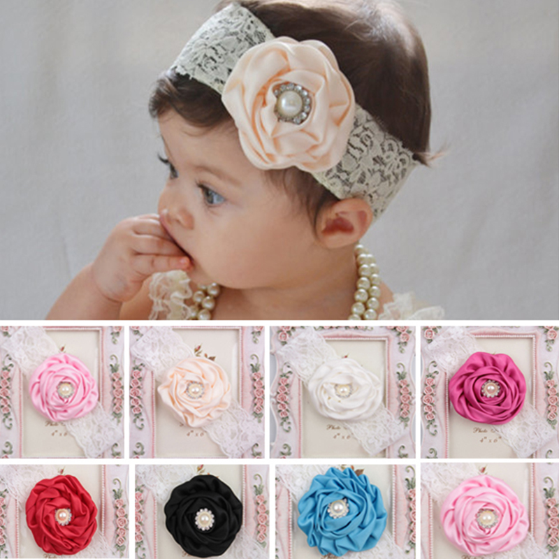1PC Hot Newborn Headwear Kids Flower Headband White Lace Hair Bands Girl Pink Flower Scarf Hair Accessories
