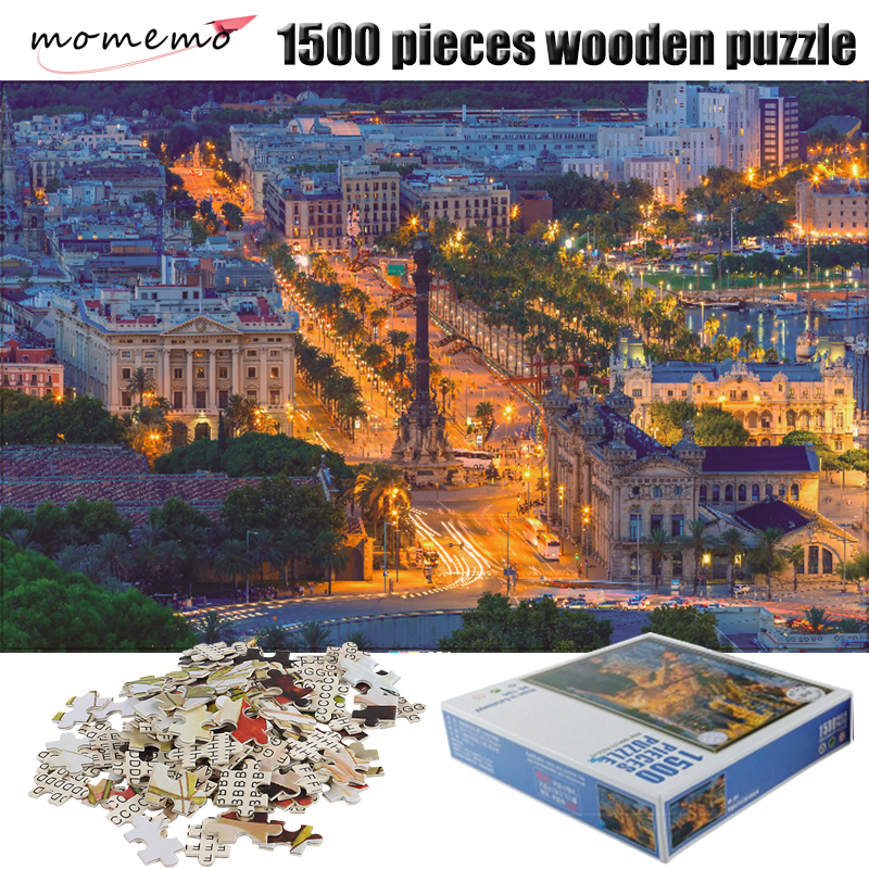MOMEMO Spanish Nightscape <font><b>Jigsaw</b></font> <font><b>Puzzle</b></font> Adult <font><b>1500</b></font> <font><b>Pieces</b></font> Wooden <font><b>Puzzle</b></font> Assembling Toys <font><b>Puzzles</b></font> <font><b>1500</b></font> <font><b>Pieces</b></font> Children Toys Gifts image