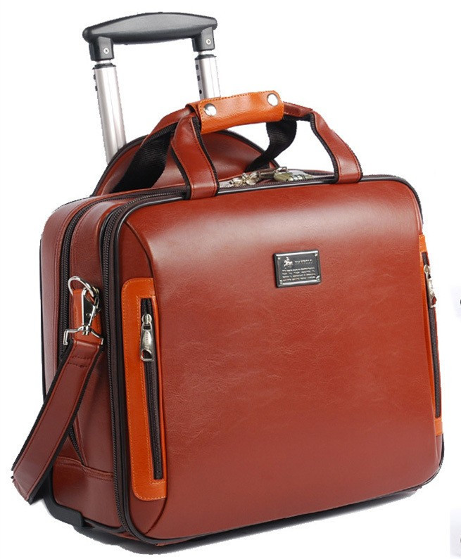 Na Leather Business Travel Bags Suitcase Portable Rolling Luggage Men S Handbag Computer Bag Boarding Carry Ons Shoulder In From