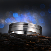 CaiMao Solid 14k White Gold Satin Finished Engagement Wedding Band For Mens