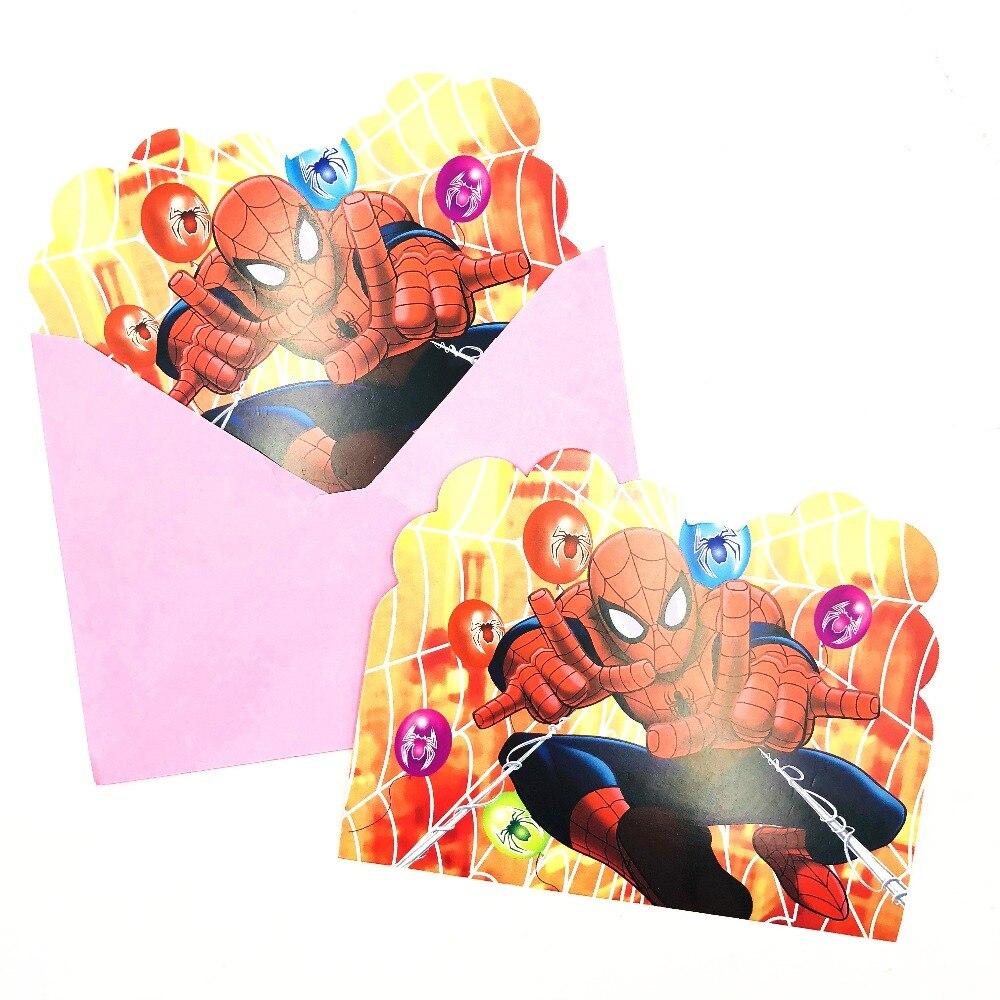 6pcs Pink Spiderman Birthday Party Invitations Ideas For Boys ...