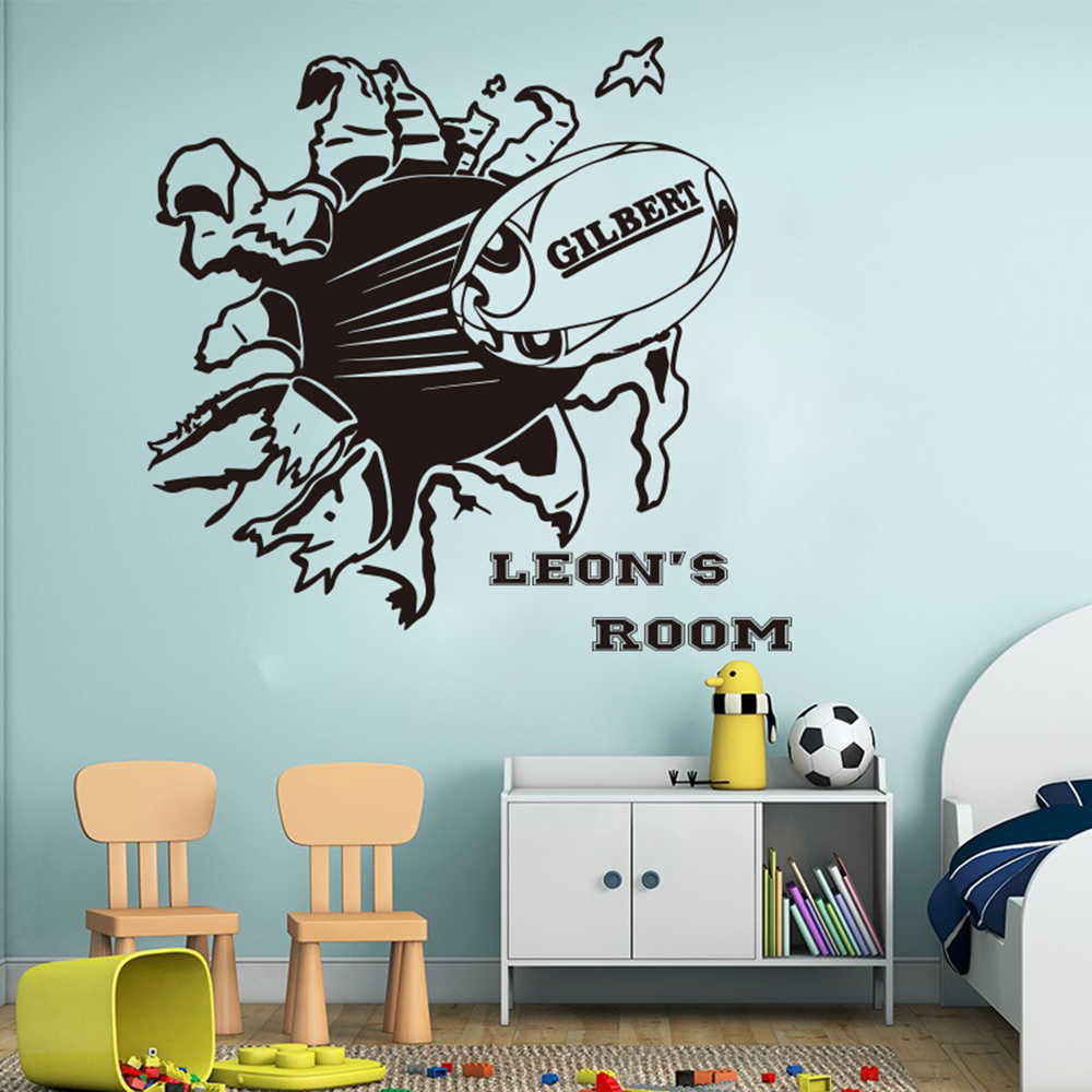 Personalized Name Rugby Wall Sticker Boy Room Nursery Large Football Custom Sport Ball Decal Bedroom Vinyl Decor