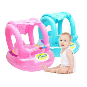 Bezpieczne nadmuchiwane dla dzieci dla dzieci nadmuchiwane koło pcv niemowląt pływanie pływający łodzią regulowany parasol siedzenia zabawy pływanie basen zabawki tanie i dobre opinie Dziecko SR02 Pink Blue Environmental PVC