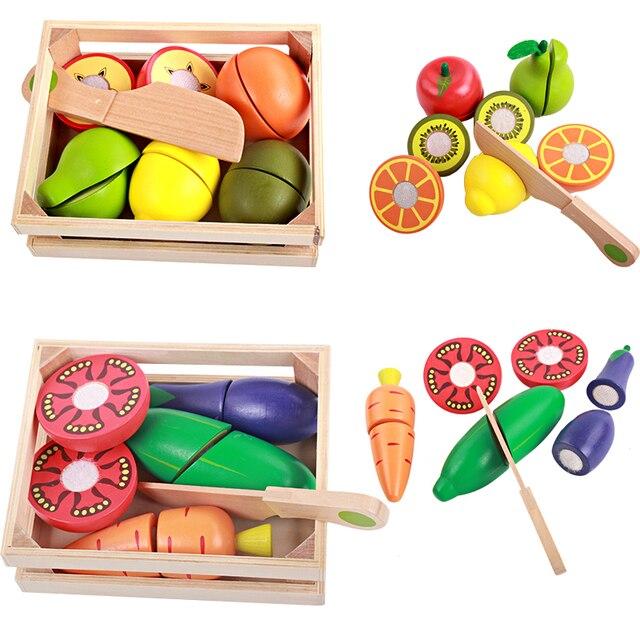 아기 장난감 교육 절단 과일/야채 세트 나무 놀이 음식 주방 완구 어린이 놀이 집 생일 선물