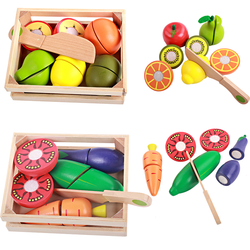 Baby Toys Educational Cutting Fruits/ Vegetable Set Wooden Play Food Kitchen Toys Children Play House Birthday Gift