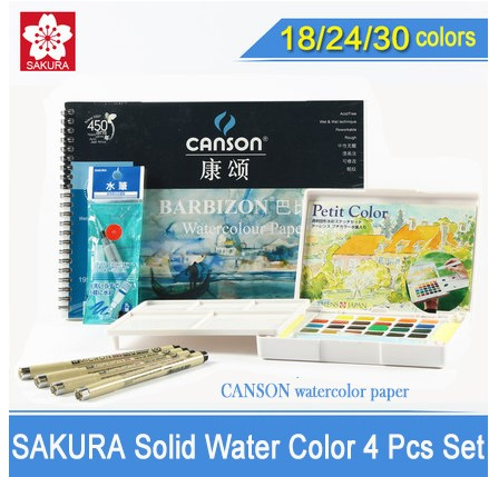 2SAKURA Solid Water Color Paint 18/24/30 Colors Sets,Solid Water Color+Needle Pen+Water Brush+Watercolor Paper with gift
