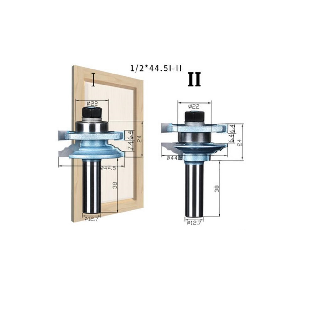SHINA 2PCS 1 2 44 5I II Concave Stile and Rail Bits Nail Tenon Joints Door