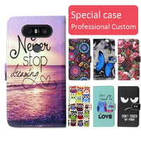 Fashion cartoon printed flip wallet leather case for LG Q8 with Card Slot phone bag book case,free gift