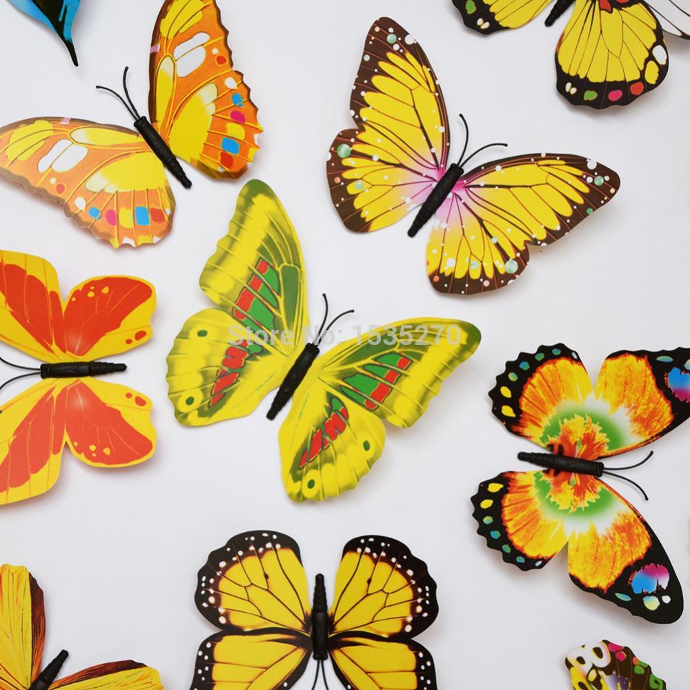 Big Size 3D Butterfly Wall Stickers Butterflies Refrigerator Decors ...