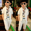 Korean Children Boy Clothing Sets Spring Autumn Fashion Boys Suits Cotton White Short Sleeve Blazer Coat+Pant Suit Kids 2pcs Set