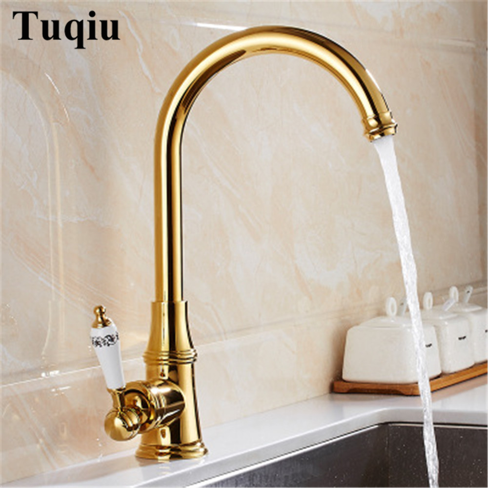 Kitchen Sink Faucet Brass Kitchen Faucet Hot and Cold Sink Mixer Tap Ceramic Single handle Rotating Tap Deck Mounted Gold Faucet