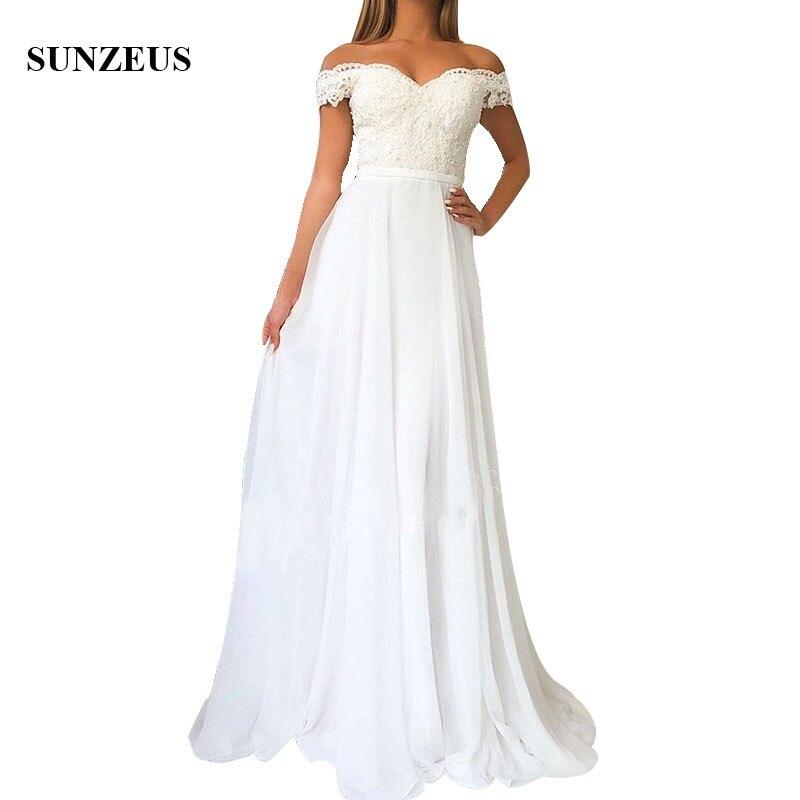 Long White Chiffon   Bridesmaid     Dresses   Appliques Off Shoulder Sweetheart Women Party Gowns A-line Wedding Guest   Dress