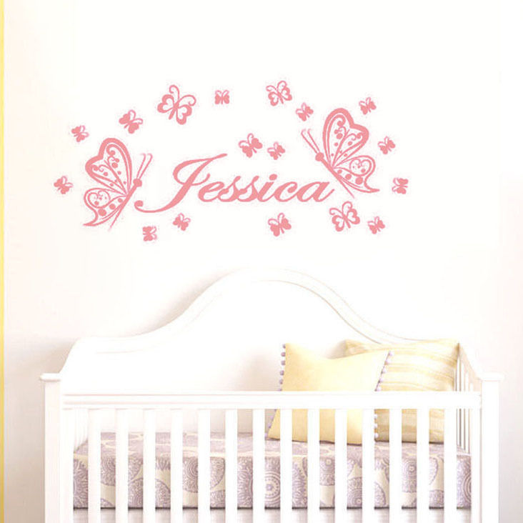 Butterflies Girls Room Wall Sticker Personalized Any Name Vinyl Wall Decals For Kids Girls Bedroom Art Decoration Y 582 in Wall Stickers from Home Garden