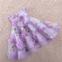 Organza Fashion Children Casual Dresses Flower Princess Summer Clothing Loose Tutu Vestidos Costumes Girls Sleeveless Vest