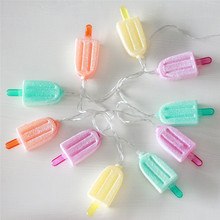 1X Lovely LED Ice Lolly String light Ice cream Light Summer Garden Decorative Battery Powered Party 3VAA Indoor Led Fairy Lights