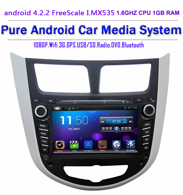 Android 4.2 Car DVD Player radio stereo GPS Hyundai Solaris Verna Accent 2010-2014 Wifi 3G DVR OBD2 1.6GHZ - Copuma Technology Company Limited store