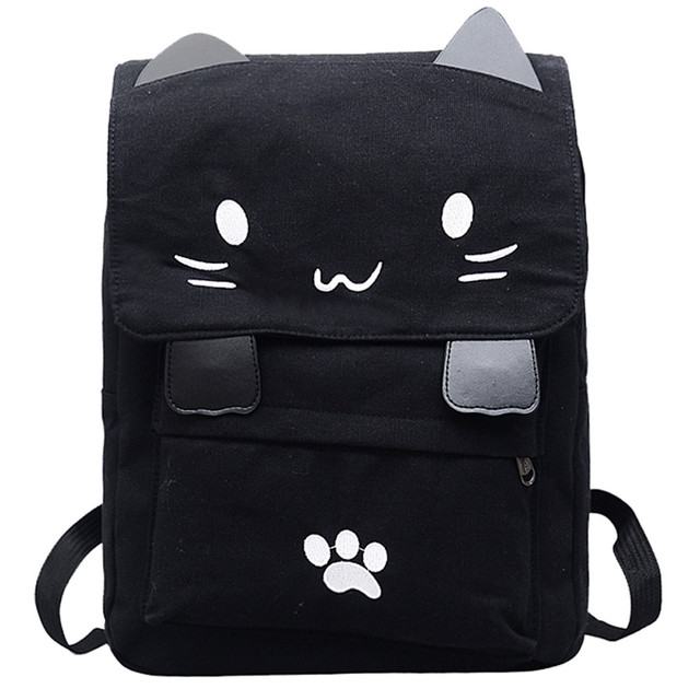 ae05539ccc Cute Cat Canvas Backpack Cartoon Embroidery Backpacks For Teenage Girls  School Bag Fashion Black Printing Rucksack mochilas  20