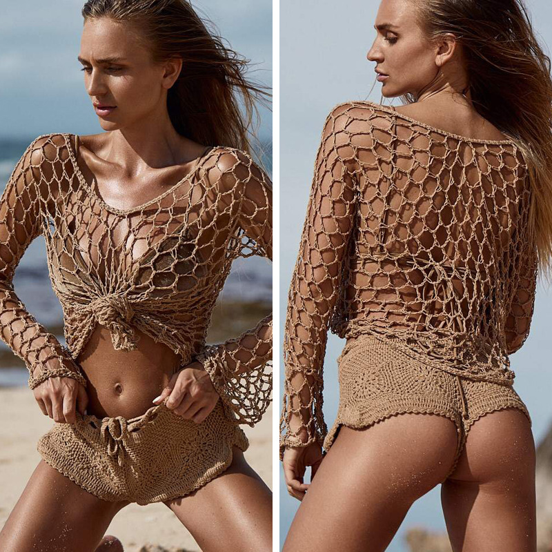 Women's Mesh Bikini Cover Up Ladies Lace Crochet Swimsuit Bathing Slash Neck Fishnet Sexy Summer Beach Swimwear Cover-Ups