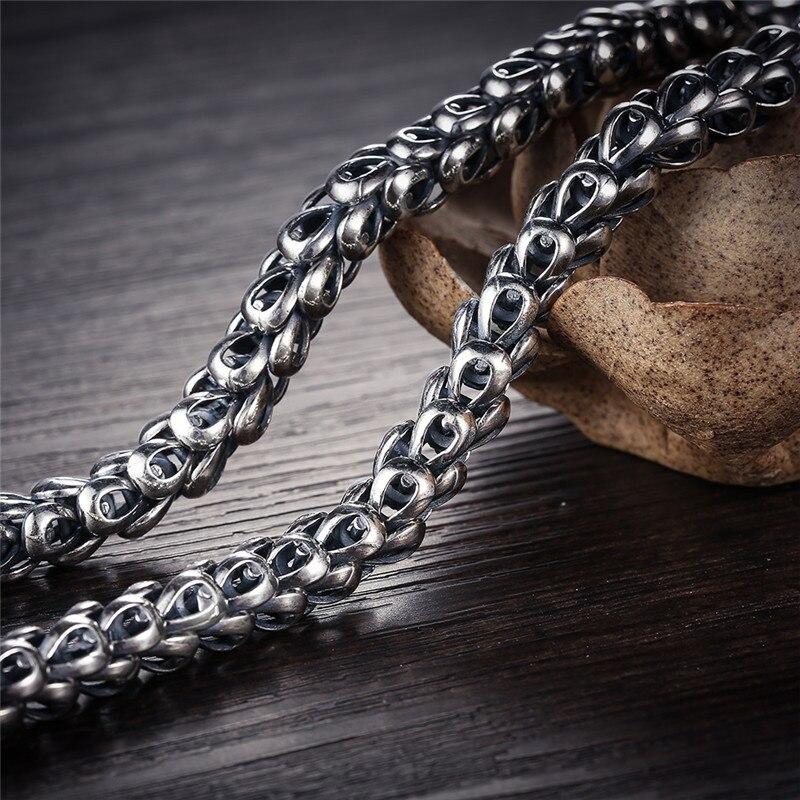 V. YA ciężki męska naszyjnik 925 Sterling Silver naszyjniki łańcuchy mężczyzn mężczyzna fajny smok biżuteria collier homme 46 60cm w Naszyjniki łańcuszkowe od Biżuteria i akcesoria na  Grupa 3