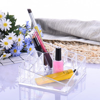 Transparent Makeup Organizer Case Acrylic Beauty Brush Lipstick Holder Cosmetics Storage Case Box Display Stand Rack