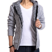 The winter men's cashmere sweater wholesale and thickened youth casual hooded knit cardigan sweater mens jacket