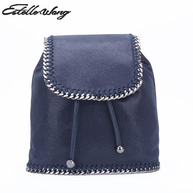 9411a25b72d Estelle Wang Import Pvc Leather Backpack Softback Small Teenager Girls  School Bags Cover Chain Drawstring Bag