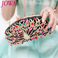 Women Evening Bag Fashion New Design Vintage Handbags Colorful Diamond Peacock Decoration Small Package Night Purse Party Clutch