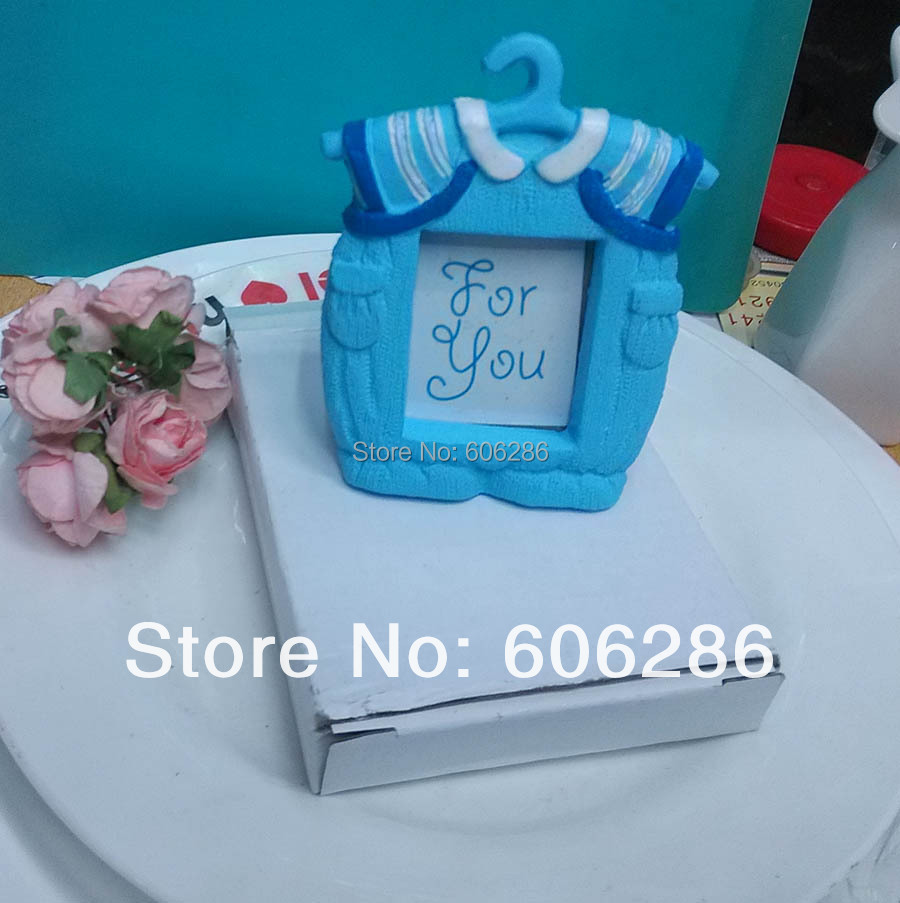 Wholesale 100pcs/lot Blue Girl Baby Clothes Photo Frame Place Card Holder  For Wedding And