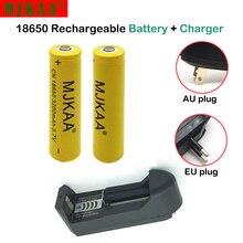 2pcs 18650 Rechargeable Battery 3.7V Li-ion Batteries 3200mah (Not AA/AAA) + 1pcs Wall Charger for Led Flashlight Battery 18650