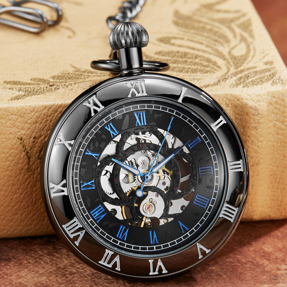 Vintage Unisex Fashion Roman Number Quartz Steampunk Pocket Watches Women Men With Pendant Necklace Chain Gift Reloj De Bolsillo