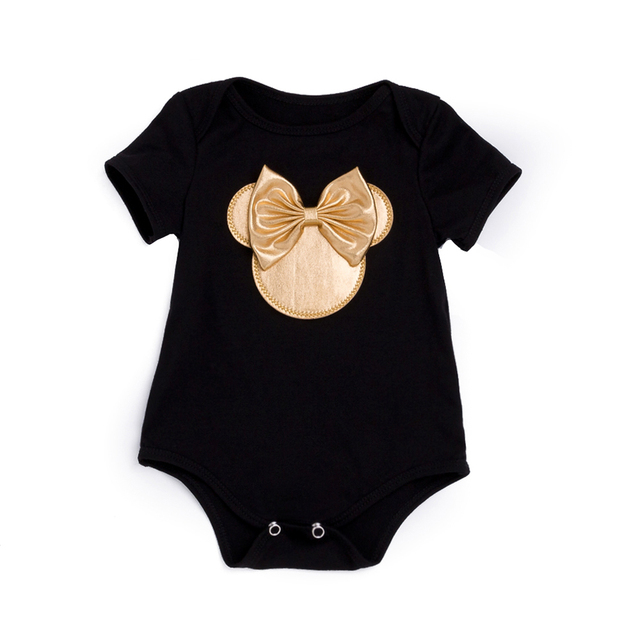 2018 Baby Girl Clothes 4pcs Clothing Sets Black Cotton Rompers Golden Ruffle Bloomers Shorts Shoes Headband  Newborn Clothes 1
