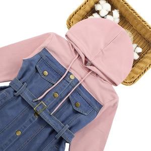 Image 3 - Dresses For Girls 2020 Spring Denim Patchwork Dress Hooded Girl Full Sleeve Party Dress Teenage Girls Clothing 6 8 10 12 13 Year