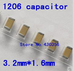 100pcs Free Shipping  1206 Smd Capacitor(3216)   1NF  102k  50V X7R