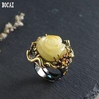 Реальный S925 Серебряный позолоченный Новый кольцо Дамы Регулируемый модные цвета розового золота ювелирные изделия