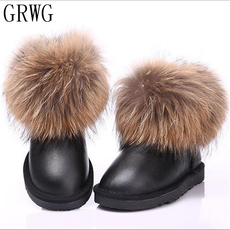 GRWG 2018 Warm Women Snow Boots Fashion Ankle Boots Woman Genuine Leather Snow Boots Women 100% Natural Wool Winter Boots cocoafoal women s wool snow boots woman ankle boots silvery winter snow boots flat with platform wool snow boots genuine leather