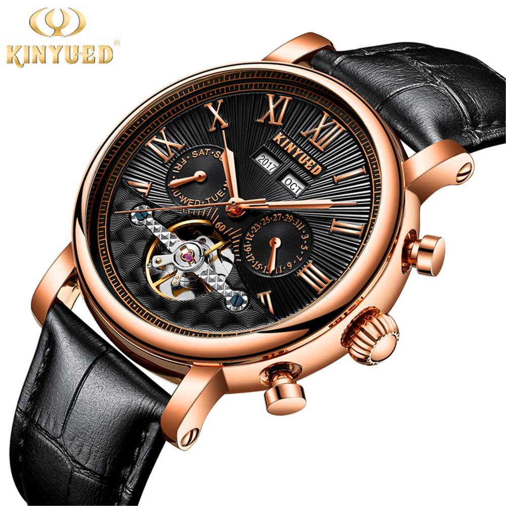 KINYUED Mens Watches Top Brand Luxury Automatic Mechanical Watch Men leather Business Waterproof Sport Watches Relogio Masculino 2018 ailang sapphire automatic mechanical watch mens top brand luxury waterproof brown genuine leather watch relogio masculine