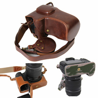PU Leather Camera Case Bag For Canon EOS 5D4 5D3 5D Mark III 5D IV DSLR pouch With shoulder Strap and accessory case portable
