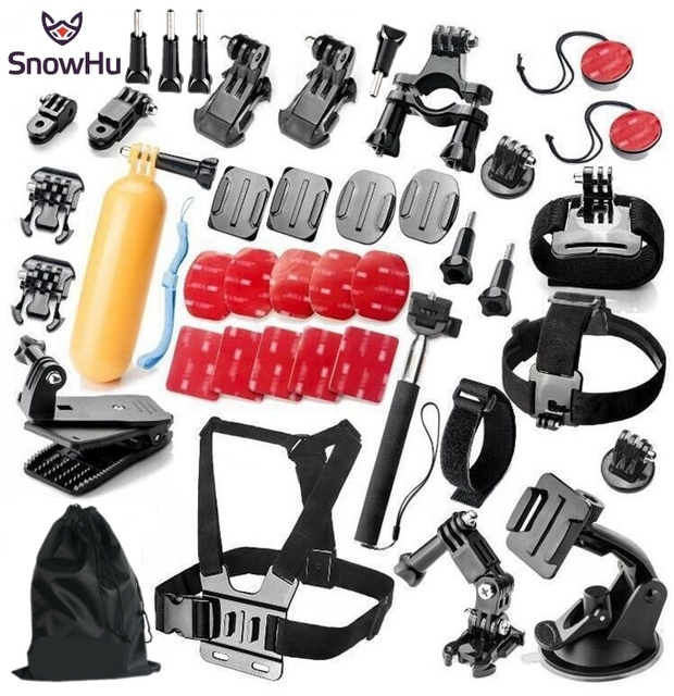 SnowHu Gopro acessórios Set caso Polvo tripé monopé montar bicicleta capacete braço para go pro hero5 5S 4 3 sj4000 sjcam m10 GS44